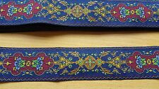 50cm Long RUG RUNNER stair carpet woven 1:12th scale dolls house blue red gold