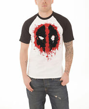 Deadpool T Shirt Splat Icon nouveau officiel Marvel Comics Homme Blanc Raglan