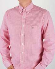 Gant Poplin Banker Stripe Shirt in Bright Red Pink - button down collar