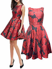 NEW QUIZ LADIES BLACK RED JACQUARD FLORAL PARTY PROM DRESS UK SIZE 8