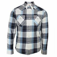 LEVIS SHIRT BARSTOW MENS WHITE BLUE CHECK TOP