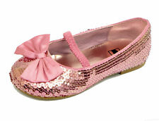 KIDS GIRLS CHILDRENS PINK SEQUIN  BALLERINA PUMP DOLLY BALLET FLAT SHOES UK 4-3