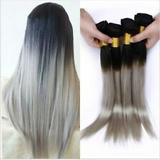 100g 8A Brazilian Grey Ombre Virgin Straight Remy Human Hair Wefts Extensions
