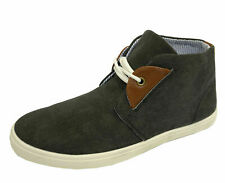 MENS DARK GREY LACE-UP DESERT CANVAS SMART CASUAL ANKLE BOOTS HI-TOP SHOES 6-11
