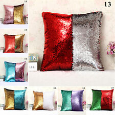 Reversible Sequin Mermaid Glitter Sofa Cushion Cover Pillow Case Double Color