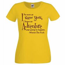 Ladies Yellow 'Winnie The Pooh' Adventure Quote T-Shirt Story Book Character