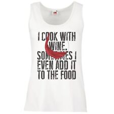 Ladies White I Cook With Wine Vest Funny Connoisseur Cooking Tank Top