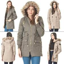 Ladies Brave Soul Fur Hooded Padded Winter Coat Parka Zipped Jacket Size M L XL