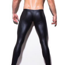 Men's Sexy Wet Look Faux Leather Performance Long Fitness Wet Look Legging Pants