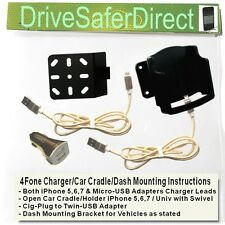 4Fone USB Charger for iPhone 5,6,7 with Car Cradle options for Vauxhall