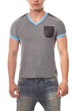 RUSTY NEAL Pattern Shirt Herren T-Shirt Freizeit-Shirt Grau Blau Sale R-6684