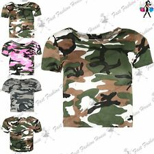 Womens Ladies Army Military Camoflauge Print Round Neck Cap Sleeve Cropped Top