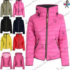 Womens Coat Padded Ladies Quilted Puffer Bubble Fur Collar Zip Up Thick Jacket