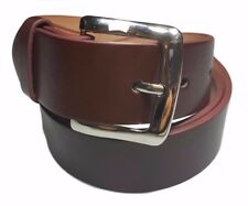 Men's Plain Brown Leather Casual Dress Belt With Removable Snap On Silver Buckle