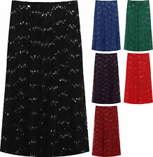 Plus Womens Floral Lace Lined Sequin Flared Elasticated Ladies Midi Skirt 14-28