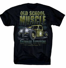 T-Shirt Old School Muscle American Rattitude Rockabilly Cars V8 Flathead Hot Rod