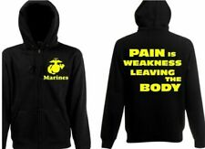 """US Army Marines Slogan """"Pain is Weakness Leaving the Body"""" USMC Hooded Jacket"""