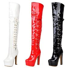 thigh length Boots Platform Patent Shoes High Heels Wet Look Vintage Size VANCY