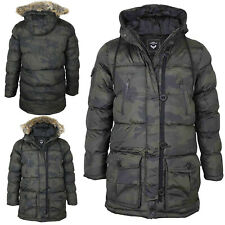 Mens Brave Soul Jacket Military Padded Polyester Fur Hooded Parka Casual Coat