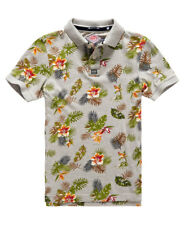 New Mens Superdry All Over Print Jersey Polo Shirt Vintage Marl