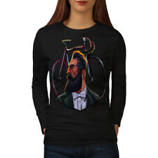 Real Man Gentleman Beard Women Long Sleeve T-shirt NEW | Wellcoda