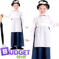 Victorian Nanny Girls Fancy Dress Fairytale World Book Day Childrens Kid Costume