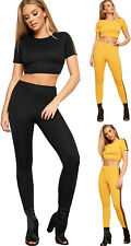 Womens Contrast Racer Striped Short Sleeve Crop Top Leggings Ladies Co-Ord Set