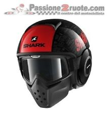 Casque de moto Shark Raw Drak Tribute noir rouge vintage scrambler cafe racer