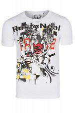 RUSTY NEAL ANGEL Camiseta hombre tiempo libre blanco rtn-3391 sommer-shirt