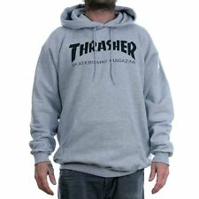 Thrasher Magazine Grey Skate Mag Logo Hooded Sweat Hoodie New Free Delivery