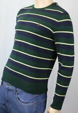 Polo Ralph Lauren Green Navy Blue Crewneck Wool Sweater Burgundy Pony NWT