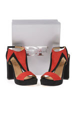 Scarpe Sandali DIVINE FOLLIE Shoes -50% Pelle Made In Italy Donna Rosso 7740-
