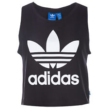 Womens adidas Originals Loose Crop Tank Top In Black From Get The Label