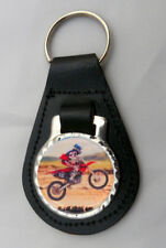 MOTOCROSS Scrambling Leather Key Fob NEW Keyring Off-Road Motorbike Motorcycle