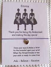 Personalised Gift Card with Wish String Bracelet  - Bridesmaid Gift