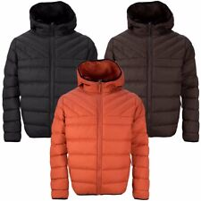 Mens Soulstar Hooded Quilted Padded Zip Up Puffer Jacket Winter Coat Size