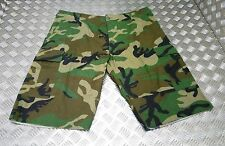 US Army Style Ripstop 6 Pocket Combat / Field Cut Down Trousers Woodland Camo L