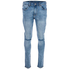 Mens Ringspun Apollo Skinny Fit Ripped Jeans Blue- Five Pocket Design-Belt Loops