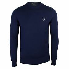 FRED PERRY JUMPER MENS FRENCH NAVY CREW NECK SWEATER KNIT