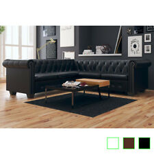 vidaXL Sofá Chesterfield 5 Plazas Cuero Artificial Esquina Blanco/Negro/Marrón