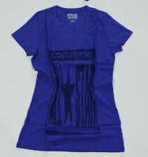 NUEVO ALL STAR CONVERSE damen women Camiseta azul Chucks inscripción T. M #1234