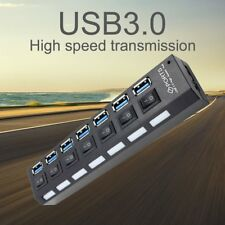 7 Ports USB 3.0 Hub Individual On/Off Switch High-Speed 5Gbps For PC Laptop Mac