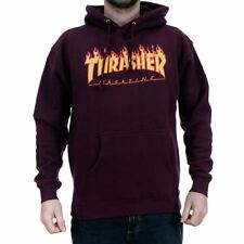 Thrasher Magazine Flame Hooded Sweatshirt Maroon New In Free Delivery