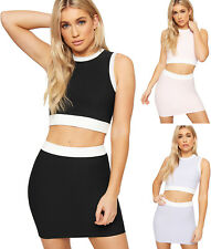 Womens Ribbed Stretch Sleeveless Crop Top Mini Skirt Co-Ord Set Ladies Contrast
