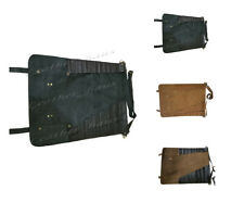 Lightweight Premium Genuine Leather 8 Pockets Professional Chef Knives Bag/Roll