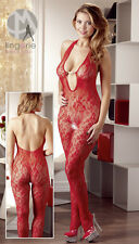Ensemble Lingerie Sexy Mandy Mystery Red Net Catsuit with Perles
