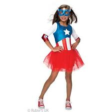 Girls Super Hero Captain America Fancy Dress Costume