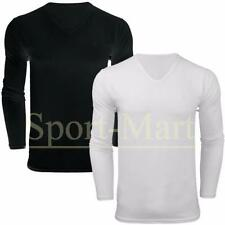 Mens Long Sleeve Lycra Vee Neck Designer Plain Slim Fit Top T-Shirt Size