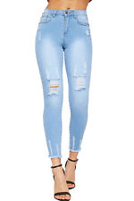 Womens Skinny Leg Frayed Ankle Denim Jeans Ladies Pants Trousers Ripped