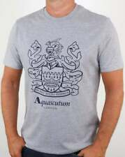 Aquascutum Aldis Crest T Shirt in Grey - crew neck short sleeve cotton tee